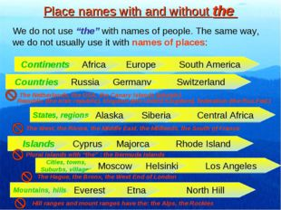 "Place names with and without the We do not use ""the"" with names of people. Th"