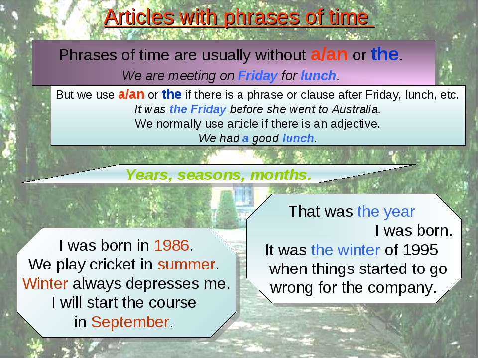 Articles with phrases of time Phrases of time are usually without a/an or the...