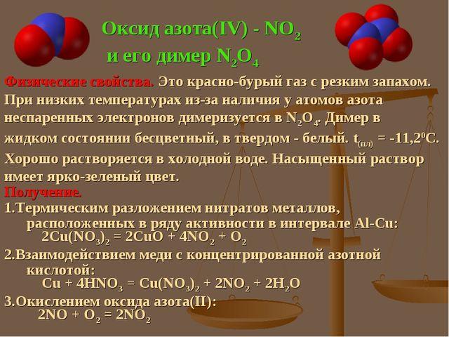 Оксид азота(IV) - NO2 и его димер N2O4 Физические свойства. Это красно-бурый...
