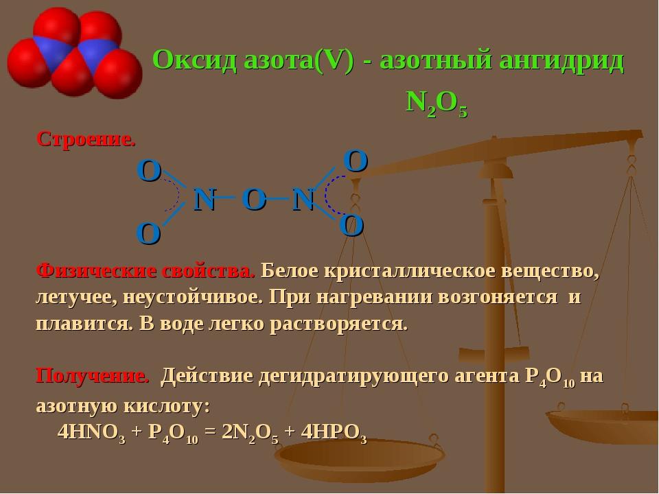 Оксид азота(V) - азотный ангидрид Строение. N O N Физические свойства. Белое...
