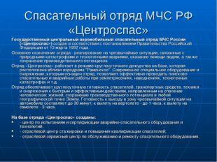 Спасательный отряд МЧС РФ «Центроспас» Государственный центральный аэромобиль
