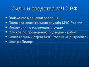 Силы и средства МЧС РФ Войска гражданской обороны Поисково-спасательная служб