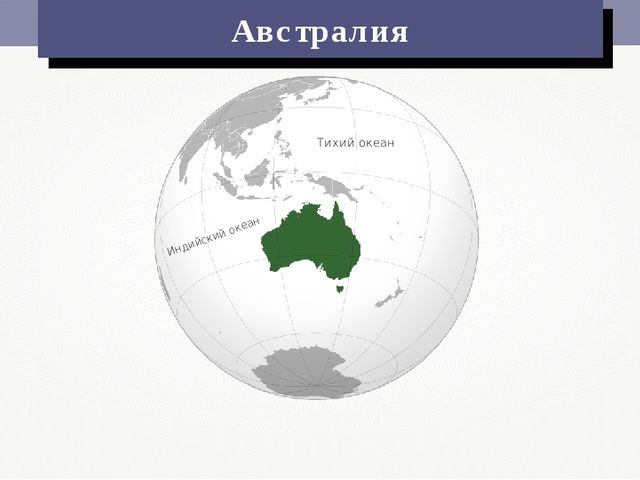Индийский океан Тихий океан Австралия