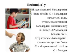 Бесінші, оқу Үйінде кітап жоқ балалар мен үйінде кітабы көп балаларды салысты