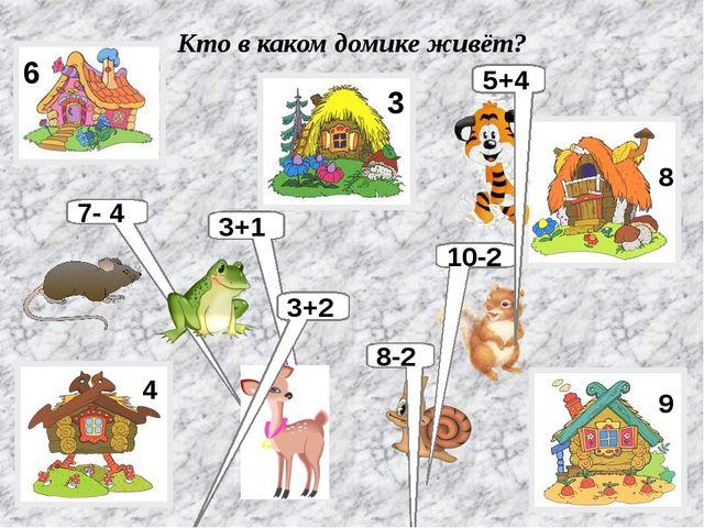 Кто в каком домике живёт? 7- 4 3+1 8-2 10-2 5+4 3+2 6 3 4 8 9