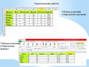 Практическая работа Таблица в режиме отображения значений Таблица в режиме от