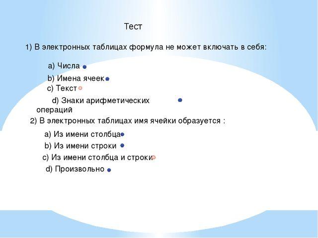 1) В электронных таблицах формула не может включать в себя: a) Числа d) Знаки...