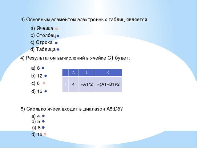 3) Основным элементом электронных таблиц является: a) Ячейка b) Столбец c) Ст...