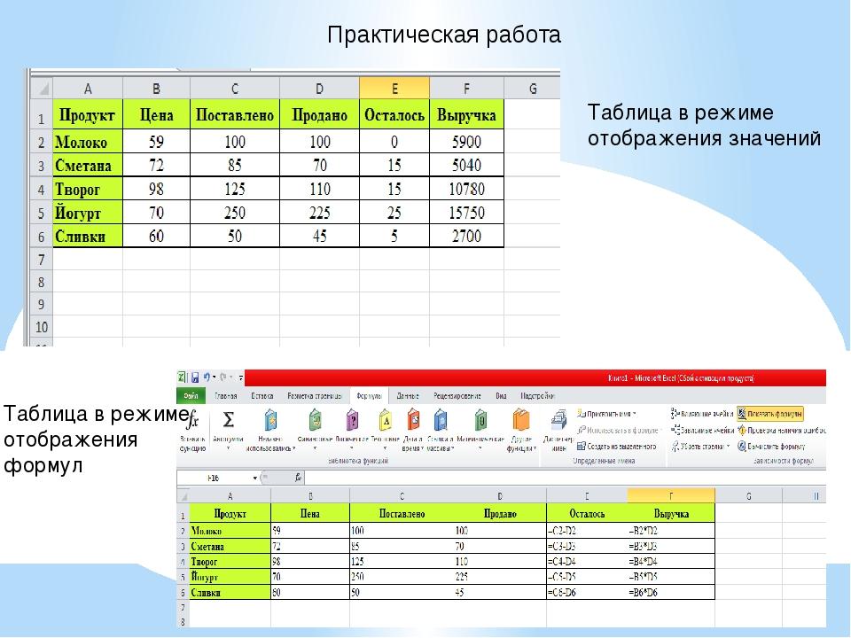 Практическая работа Таблица в режиме отображения значений Таблица в режиме от...