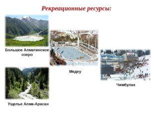 Рекреационные ресурсы: Большое Алматинское озеро Медеу Чимбулак Ущелье Алма-А