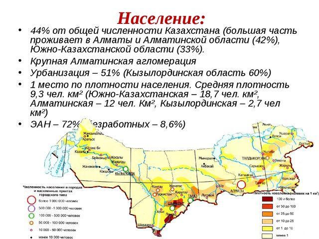 44% от общей численности Казахстана (большая часть проживает в Алматы и Алмат...