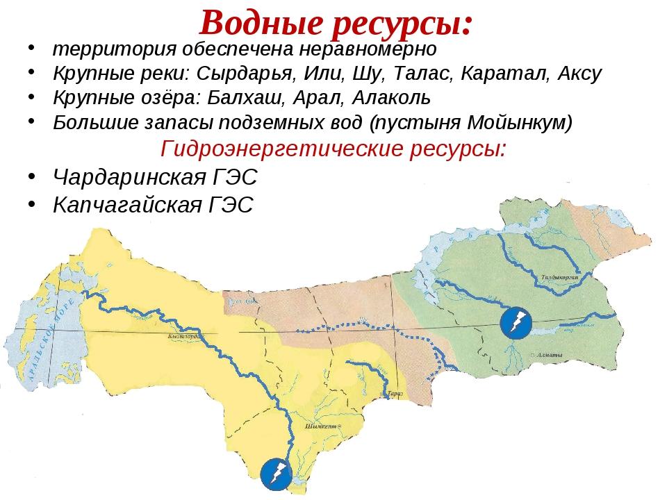 территория обеспечена неравномерно Крупные реки: Сырдарья, Или, Шу, Талас, Ка...