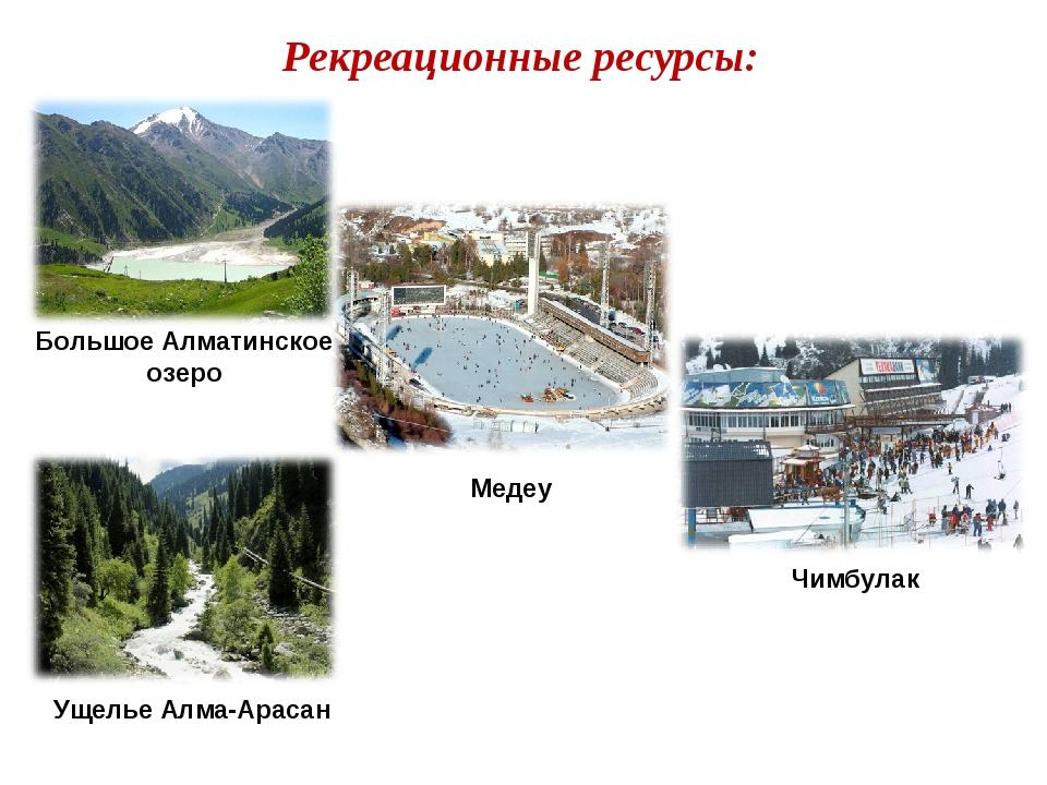 Рекреационные ресурсы: Большое Алматинское озеро Медеу Чимбулак Ущелье Алма-А...