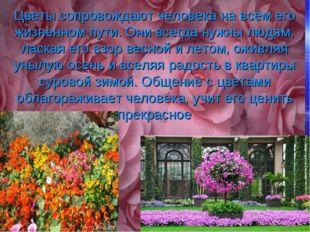 Цветы сопровождают человека на всём его жизненном пути. Они всегда нужны люд