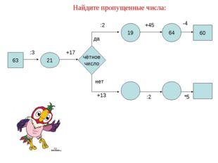 Найдите пропущенные числа: 63 21 :3 19 64 +17 чётное число да нет :2 +45 -4 +
