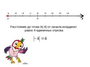 Расстояние до точки А(-4) от начала координат равно 4 единичных отрезка