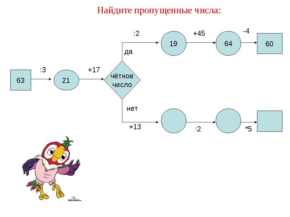 Найдите пропущенные числа: 63 21 :3 19 64 +17 чётное число да нет :2 +45 -4 +...