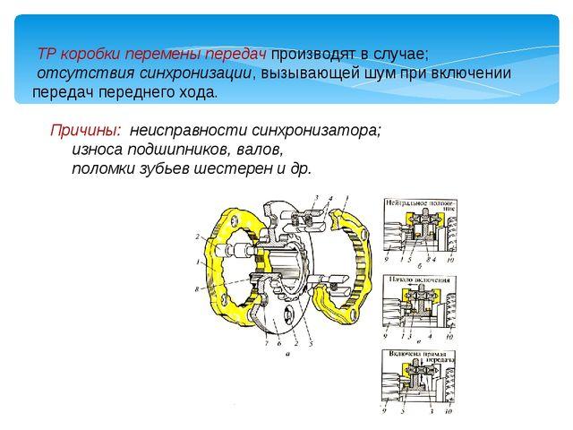 ТР коробки перемены передач производят в случае; отсутствия синхронизации, в...