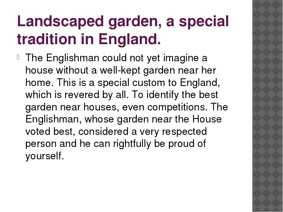 Landscaped garden, a special tradition in England. The Englishman could not y...