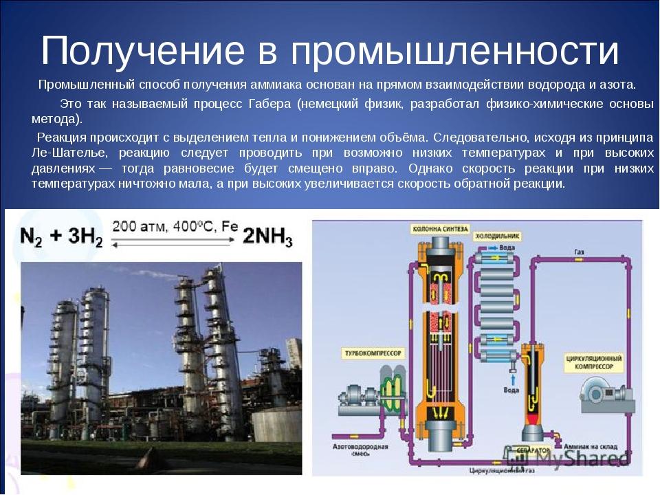 Получение в промышленности Промышленный способ получения аммиака основан на п...