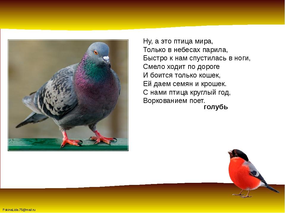 Ну, а это птица мира, Только в небесах парила, Быстро к нам спустилась в ноги...