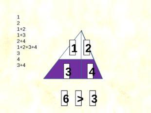 2 4 3 1 1 2 1+2 1+3 2+4 1+2+3+4 3 4 3+4 3 6 >