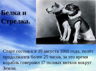 Белка и Стрелка. Старт состоялся19 августа1960 года, полёт продолжался боле