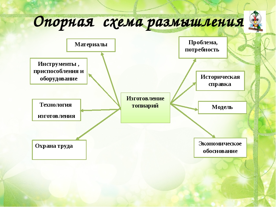 Опорная схема размышления Изготовление топиарий Материалы Инструменты , присп...