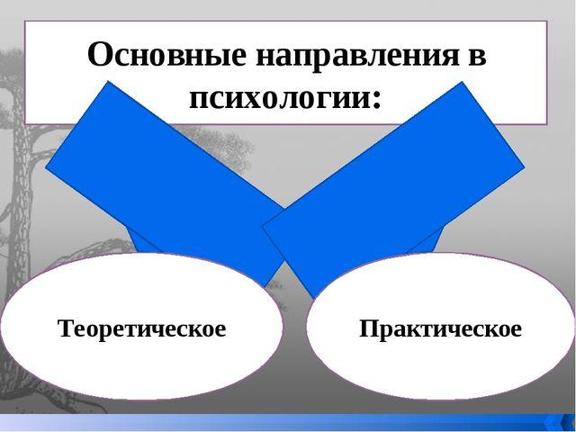 Основные направления в психологии: Теоретическое Практическое