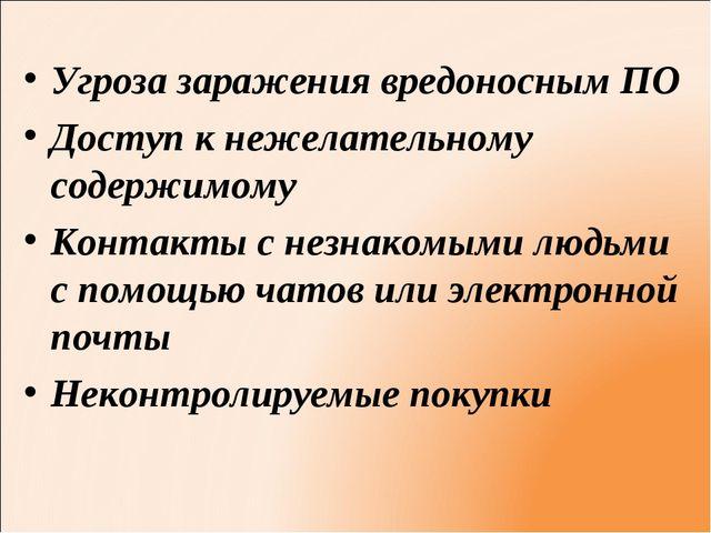 Угроза заражения вредоносным ПО Доступ к нежелательному содержимому Контакты...