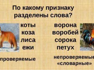 По какому признаку разделены слова? ворона воробей сорока петух коты коза лис