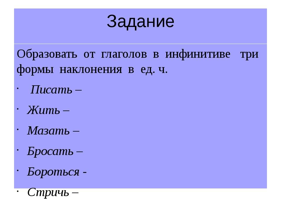Задание Образовать от глаголов в инфинитиве три формы наклонения в ед. ч. Пис...