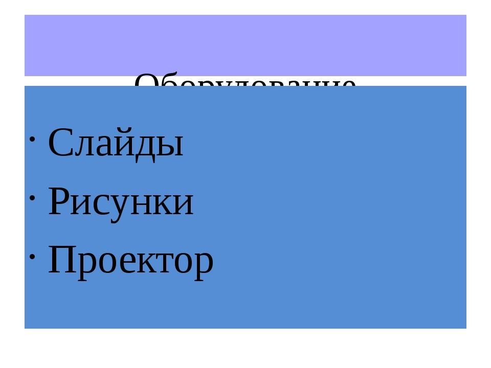 Оборудование Слайды Рисунки Проектор