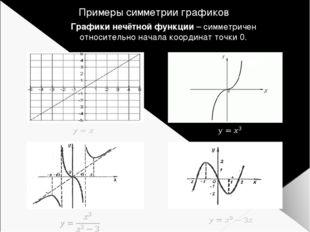 Примеры симметрии графиков Графики нечётной функции – симметричен относительн