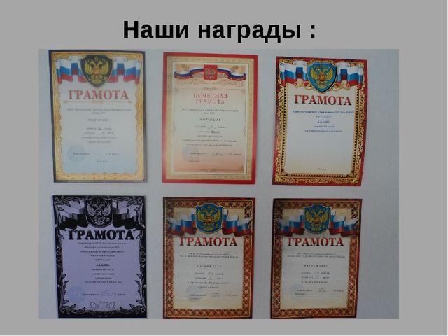 Наши награды :
