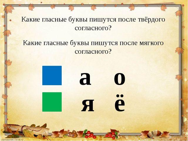 Какие гласные буквы пишутся после твёрдого согласного? Какие гласные буквы пи...