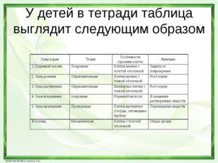 У детей в тетради таблица выглядит следующим образом Зоны корняТканиОсобенн