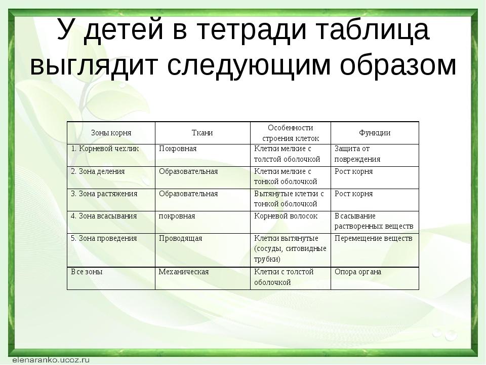 У детей в тетради таблица выглядит следующим образом Зоны корняТканиОсобенн...