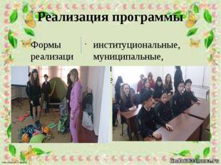 Реализация программы Формы реализации программы: институциональные, муниципал