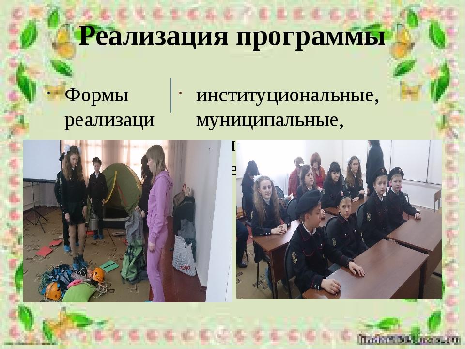 Реализация программы Формы реализации программы: институциональные, муниципал...