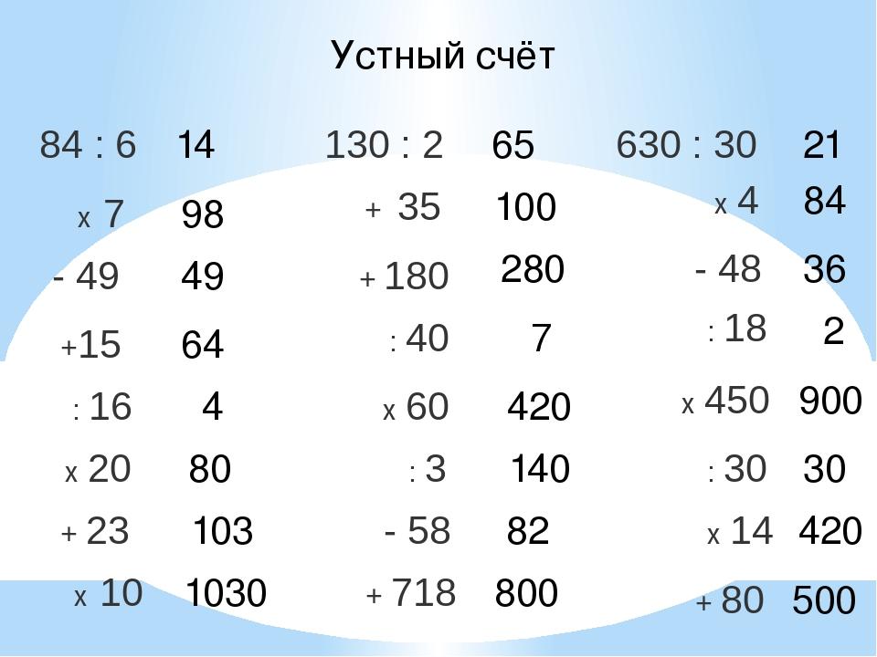 Устный счёт 14 65 21 98 49 64 4 80 103 1030 100 280 7 420 140 82 800 84 36 2...