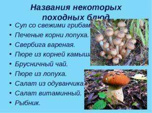 Названия некоторых походных блюд Суп со свежими грибами. Печеные корни лопуха