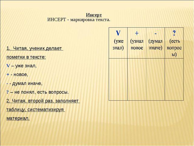 Инсерт ИНСЕРТ - маркировка текста. 1. Читая, ученик делает пометки в тексте:...