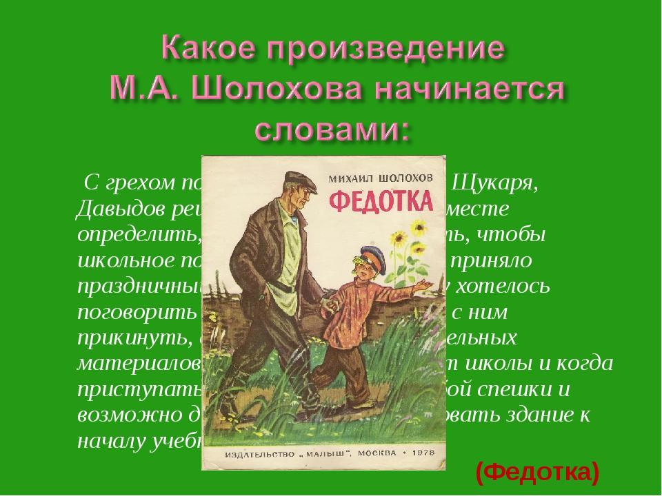 С грехом пополам выпроводив деда Щукаря, Давыдов решил пойти в школу и на ме...