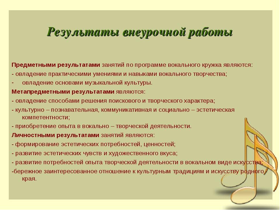 Результаты внеурочной работы Предметными результатамизанятий по программе во...