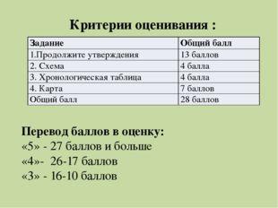Перевод баллов в оценку: «5» - 27 баллов и больше «4»- 26-17 баллов «3» - 16-
