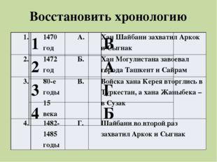 Восстановить хронологию 1. 1470 год А. ХанШайбанизахватилАркокиСыгнак 2. 1472