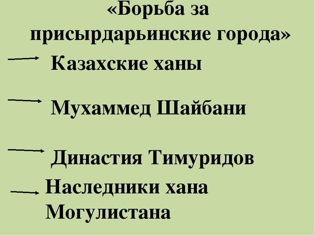 «Борьба за присырдарьинские города» Казахские ханы Мухаммед Шайбани Династия...