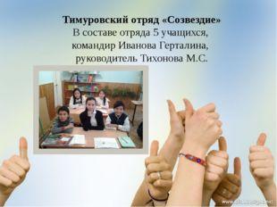 Тимуровский отряд «Созвездие» В составе отряда 5 учащихся, командир Иванова Г
