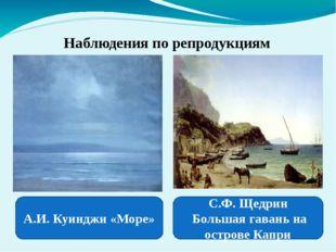 Наблюдения по репродукциям А.И. Куинджи «Море» С.Ф. Щедрин Большая гавань на